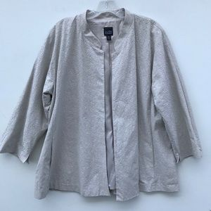 Eileen Fisher Embroidered Open Swing Jacket #1035